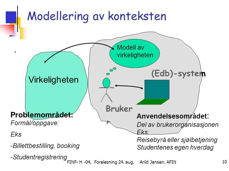 FINF- H -04, Forelesning 24. aug. Arild Jansen. AFIN 10 Modellering av konteksten. (Edb)-system Bruker Problemområdet: Formål/oppgave: Eks -Billettbes