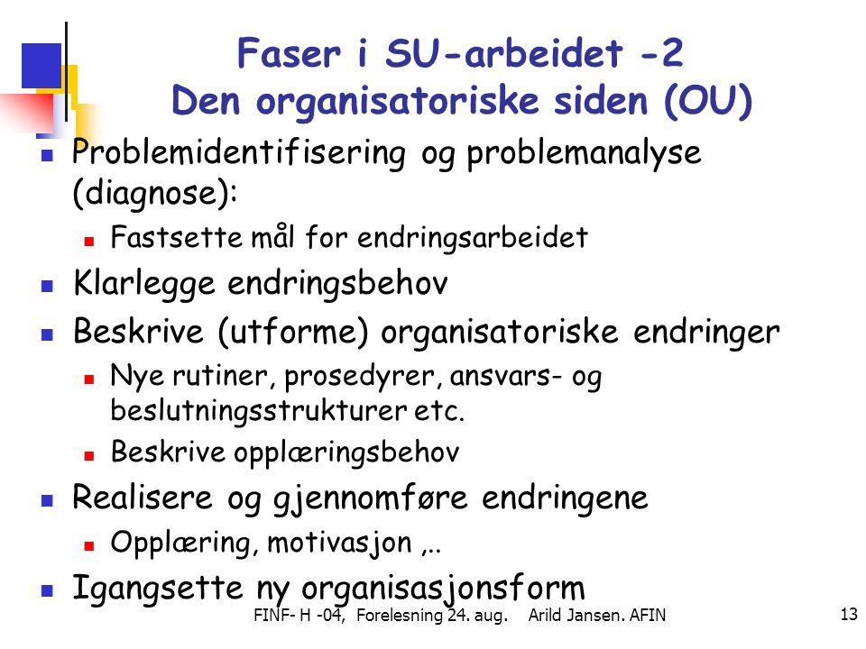 FINF- H -04, Forelesning 24. aug. Arild Jansen. AFIN 13 Faser i SU-arbeidet -2 Den organisatoriske siden (OU) Problemidentifisering og problemanalyse