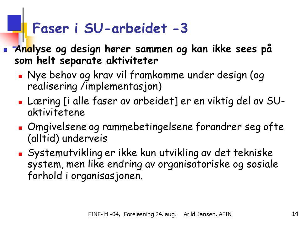 FINF- H -04, Forelesning 24. aug. Arild Jansen. AFIN 14 Faser i SU-arbeidet -3 Analyse og design hører sammen og kan ikke sees på som helt separate ak