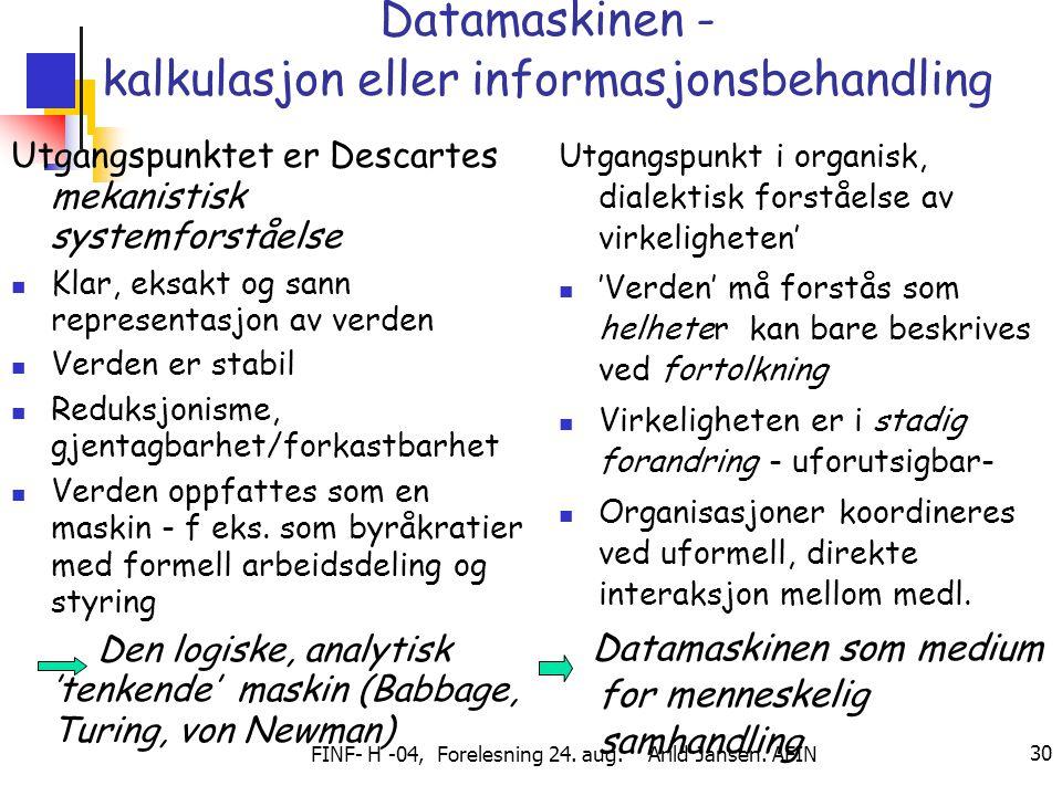 FINF- H -04, Forelesning 24. aug. Arild Jansen. AFIN 30 Datamaskinen - kalkulasjon eller informasjonsbehandling Utgangspunktet er Descartes mekanistis