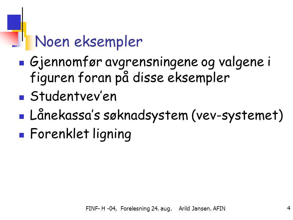 FINF- H -04, Forelesning 24. aug. Arild Jansen. AFIN 4 Noen eksempler Gjennomfør avgrensningene og valgene i figuren foran på disse eksempler Studentv