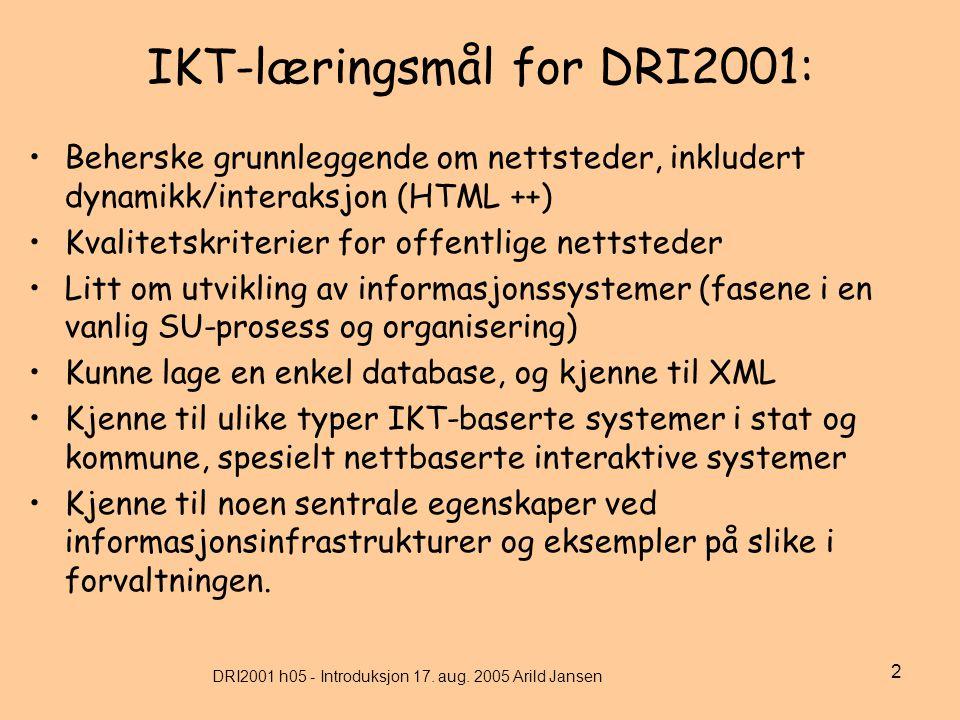 DRI2001 h05 - Introduksjon 17. aug.