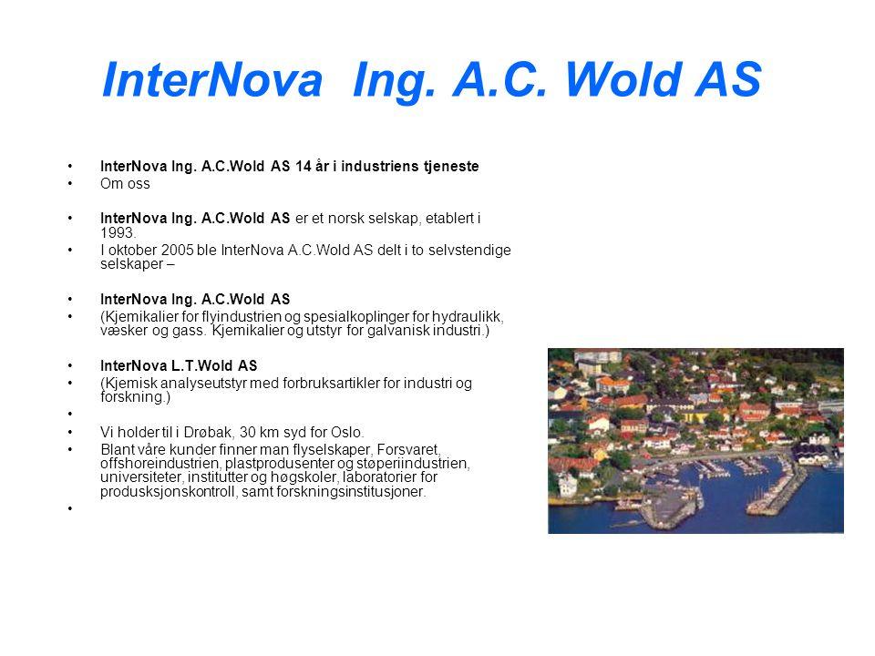 InterNova Ing. A.C. Wold AS InterNova Ing. A.C.Wold AS 14 år i industriens tjeneste Om oss InterNova Ing. A.C.Wold AS er et norsk selskap, etablert i
