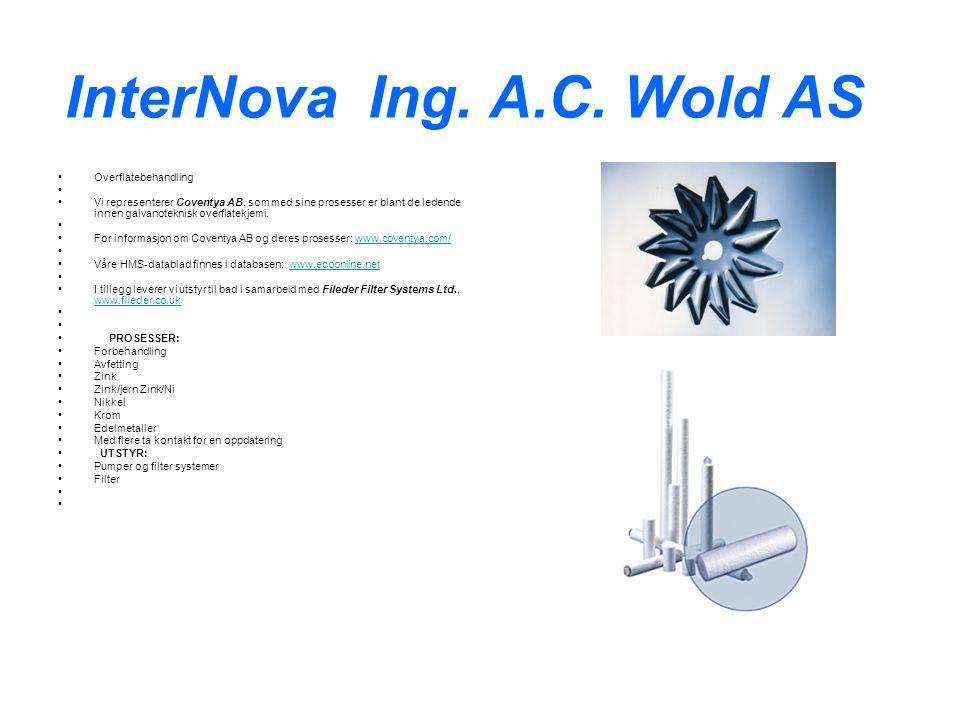 InterNova Ing. A.C. Wold AS Overflatebehandling Vi representerer Coventya AB, som med sine prosesser er blant de ledende innen galvanoteknisk overflat