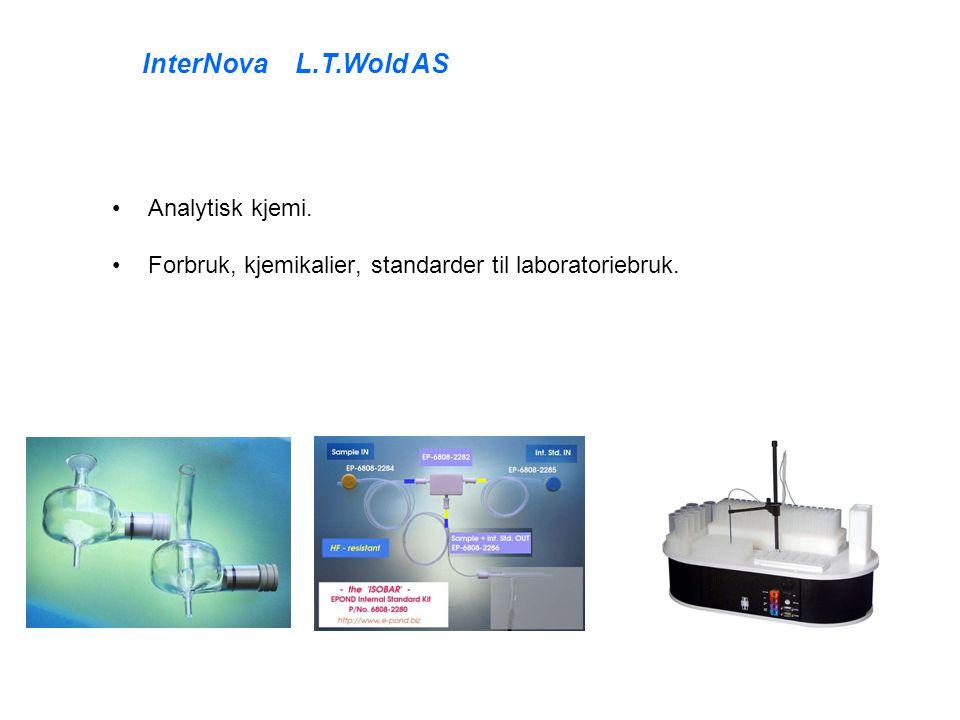 Analytisk kjemi. Forbruk, kjemikalier, standarder til laboratoriebruk. InterNova L.T.Wold AS