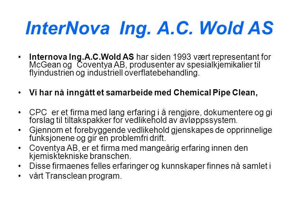 InterNova Ing. A.C. Wold AS Internova Ing.A.C.Wold AS har siden 1993 vært representant for McGean og Coventya AB, produsenter av spesialkjemikalier ti