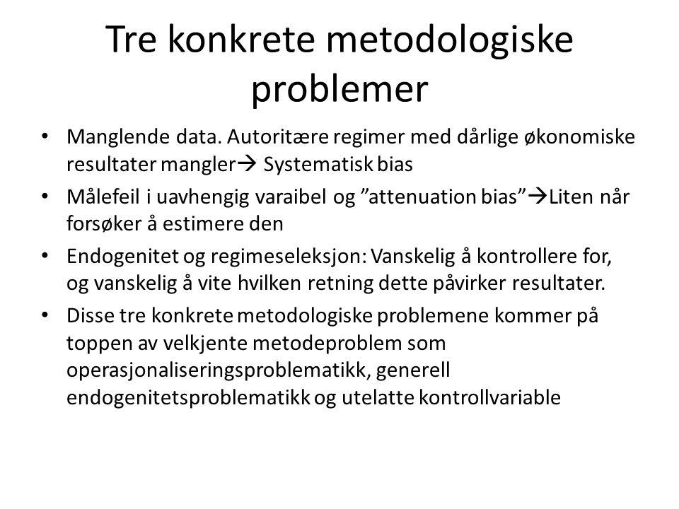 Tre konkrete metodologiske problemer Manglende data. Autoritære regimer med dårlige økonomiske resultater mangler  Systematisk bias Målefeil i uavhen