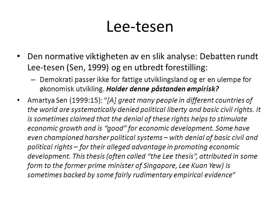 Lee-tesen Den normative viktigheten av en slik analyse: Debatten rundt Lee-tesen (Sen, 1999) og en utbredt forestilling: – Demokrati passer ikke for f