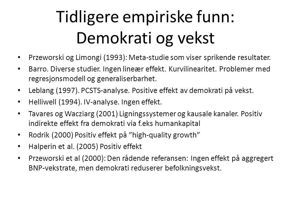 Tidligere empiriske funn: Demokrati og vekst Przeworski og Limongi (1993): Meta-studie som viser sprikende resultater. Barro. Diverse studier. Ingen l