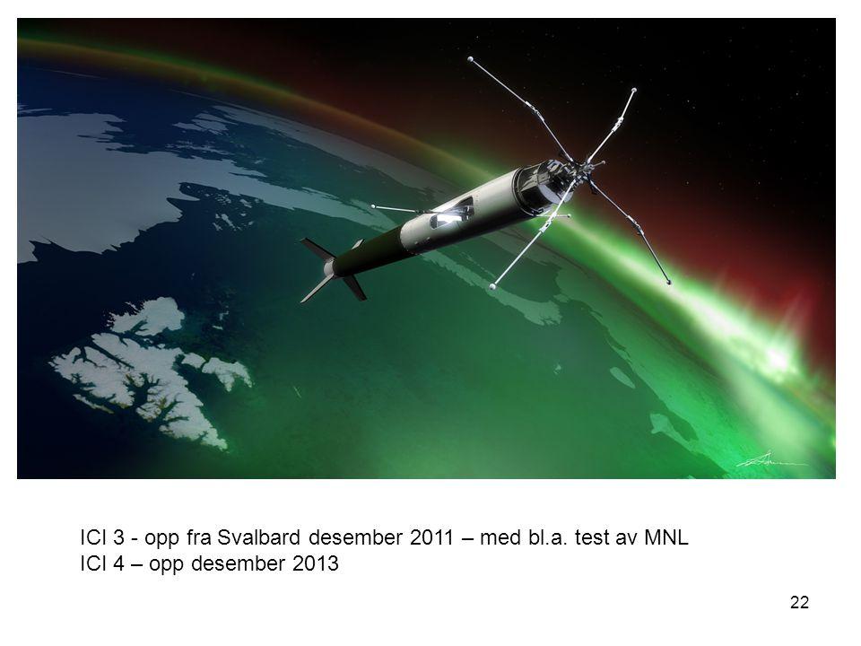 22 ICI 3 - opp fra Svalbard desember 2011 – med bl.a. test av MNL ICI 4 – opp desember 2013