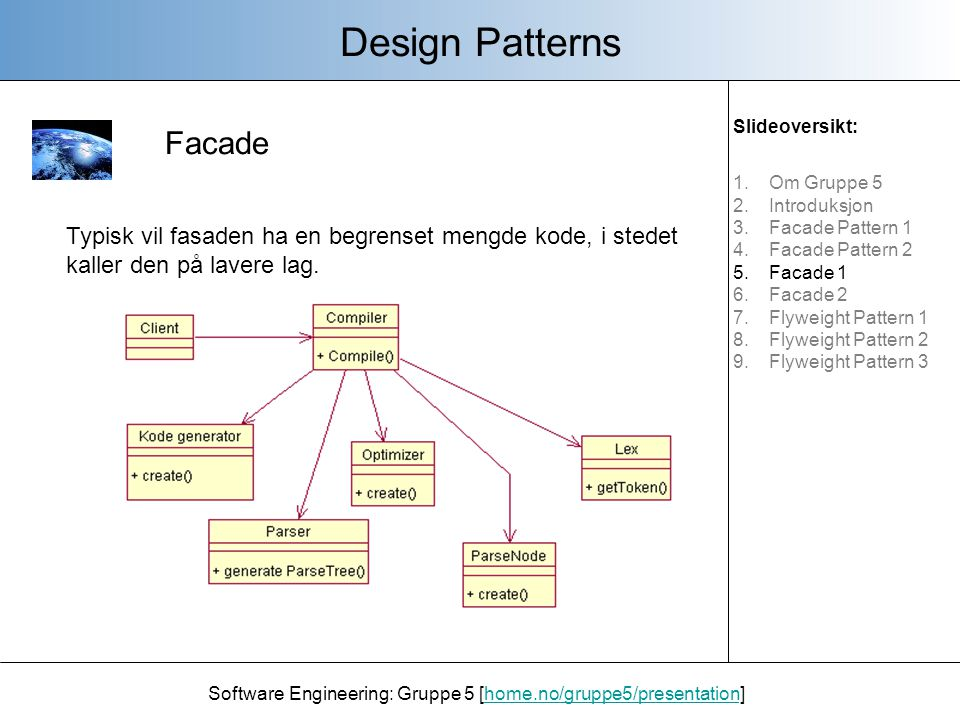 Facade Design Patterns Software Engineering: Gruppe 5 [home.no/gruppe5/presentation]home.no/gruppe5/presentation Typisk vil fasaden ha en begrenset me