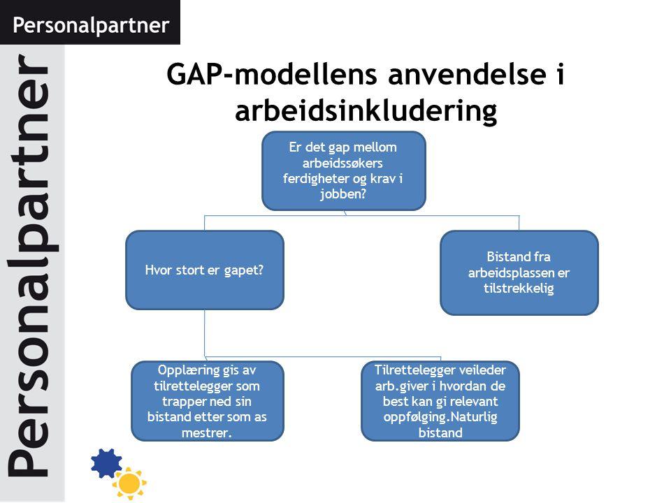 GAP-modellens anvendelse i arbeidsinkludering Hvor stort er gapet? Bistand fra arbeidsplassen er tilstrekkelig Er det gap mellom arbeidssøkers ferdigh