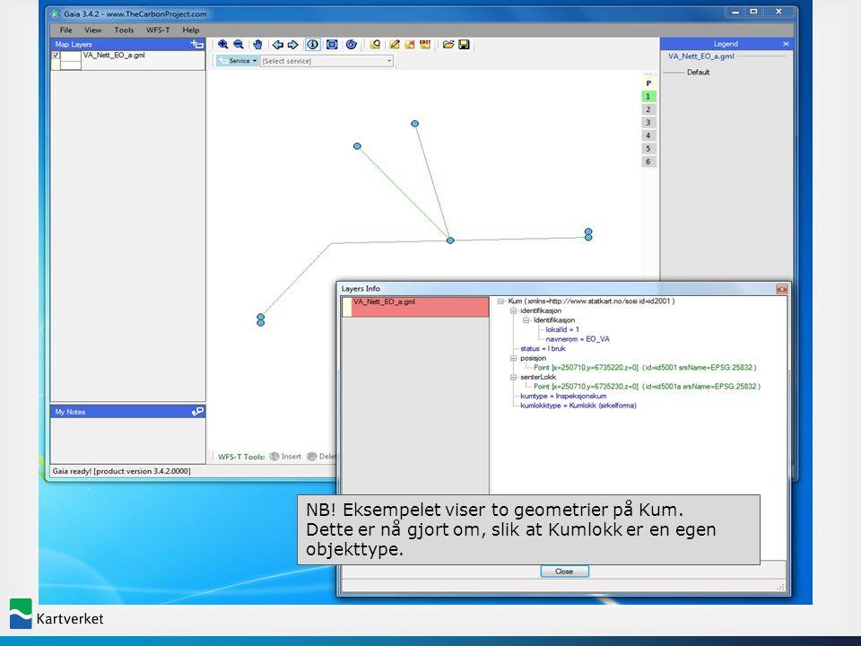 GML software NB! Eksempelet viser to geometrier på Kum. Dette er nå gjort om, slik at Kumlokk er en egen objekttype.
