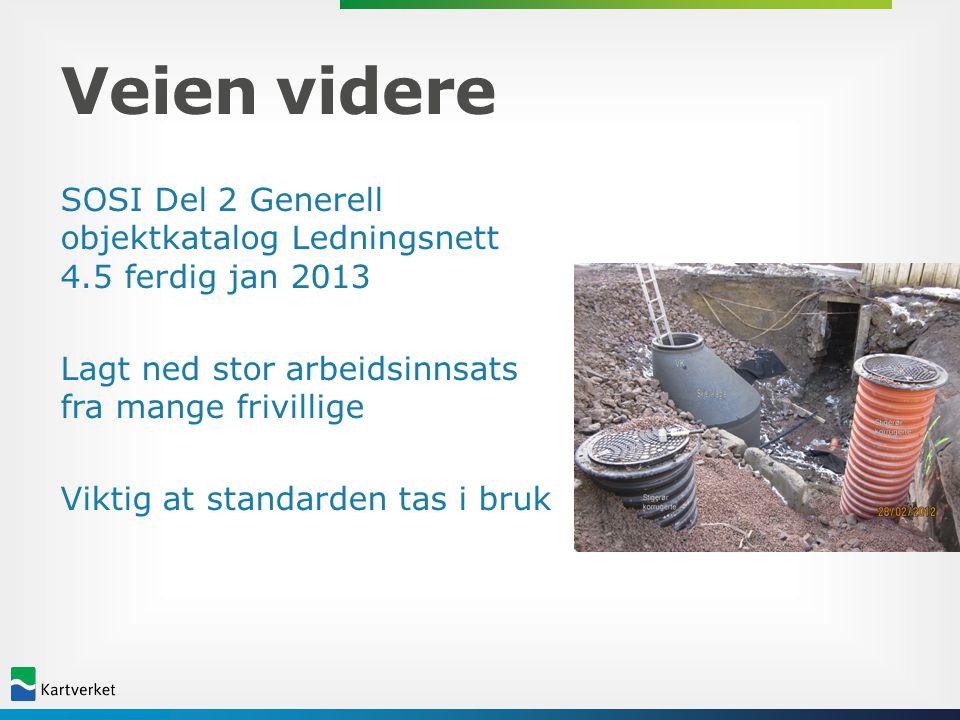 Veien videre SOSI Del 2 Generell objektkatalog Ledningsnett 4.5 ferdig jan 2013 Lagt ned stor arbeidsinnsats fra mange frivillige Viktig at standarden