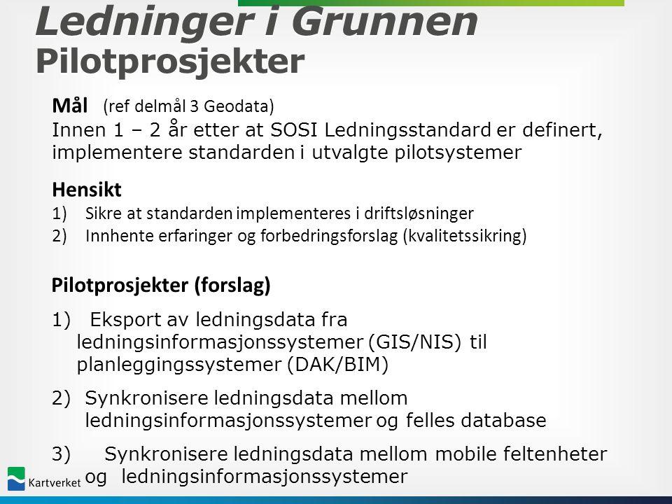 Ledninger i Grunnen Pilotprosjekter Mål (ref delmål 3 Geodata) Innen 1 – 2 år etter at SOSI Ledningsstandard er definert, implementere standarden i ut
