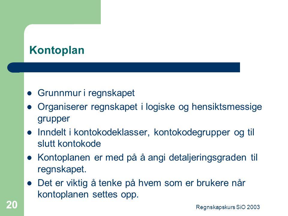 Regnskapskurs SiO 2003 20 Kontoplan Grunnmur i regnskapet Organiserer regnskapet i logiske og hensiktsmessige grupper Inndelt i kontokodeklasser, kont