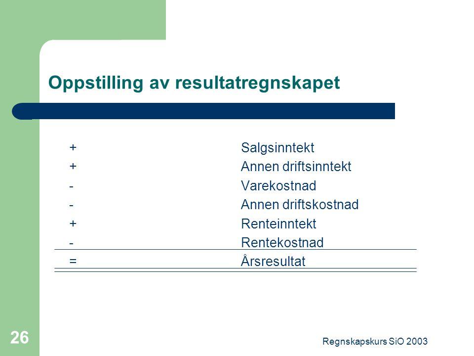 Regnskapskurs SiO 2003 26 Oppstilling av resultatregnskapet +Salgsinntekt +Annen driftsinntekt -Varekostnad -Annen driftskostnad +Renteinntekt -Rentek