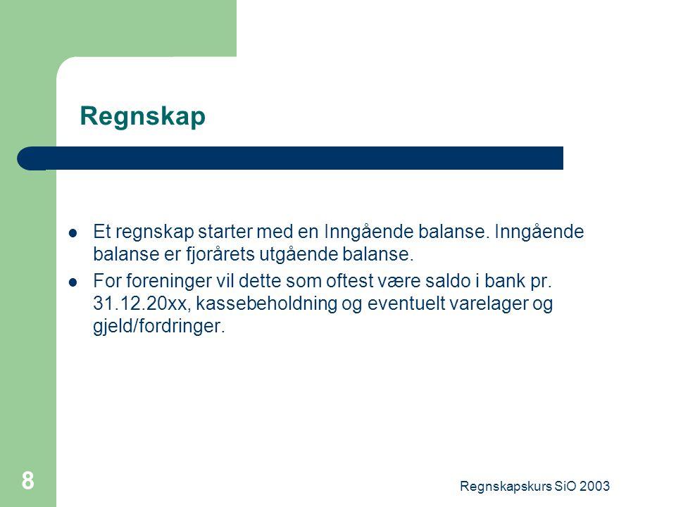 Regnskapskurs SiO 2003 29 Aktuelle linker http://www.lovdata.no/all/hl-19770513-035.html – Regnskapsloven http://www.nif.idrett.no/ftp/Lover/doc/kontoplan.htm – Norsk Standard kontoplan for organisasjoner.