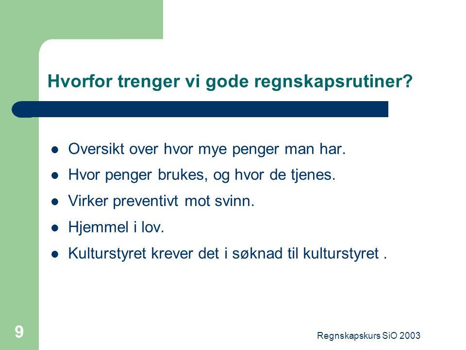 Regnskapskurs SiO 2003 10 Regnskapsrutiner NB.