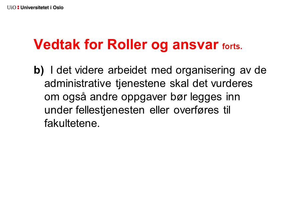Vedtak for Roller og ansvar forts.
