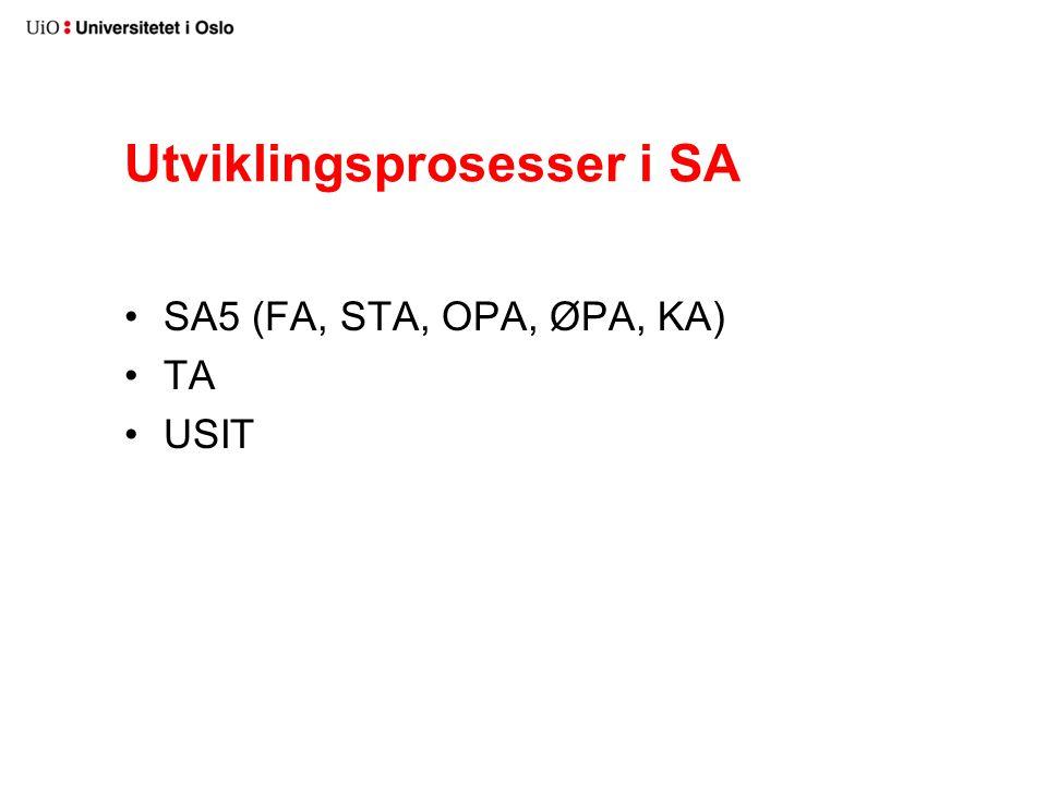 Utviklingsprosesser i SA SA5 (FA, STA, OPA, ØPA, KA) TA USIT