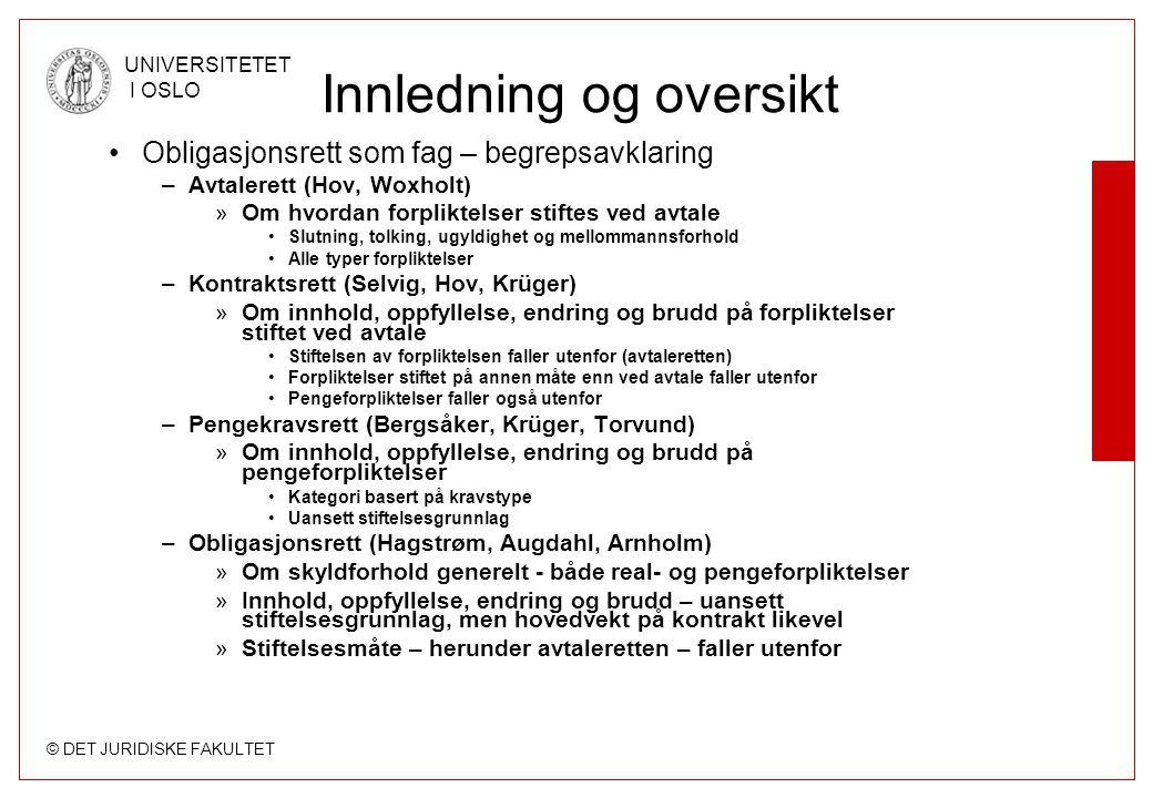 © DET JURIDISKE FAKULTET UNIVERSITETET I OSLO Innledning og oversikt Obligasjonsrett som fag – begrepsavklaring –Avtalerett (Hov, Woxholt) »Om hvordan