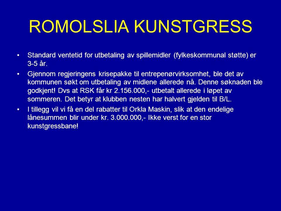 ROMOLSLIA KUNSTGRESS Standard ventetid for utbetaling av spillemidler (fylkeskommunal støtte) er 3-5 år.