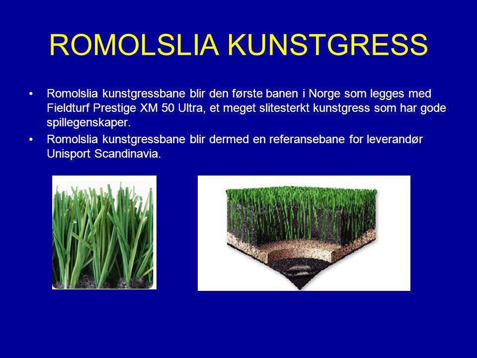 ROMOLSLIA KUNSTGRESS Romolslia kunstgressbane blir den første banen i Norge som legges med Fieldturf Prestige XM 50 Ultra, et meget slitesterkt kunstgress som har gode spillegenskaper.