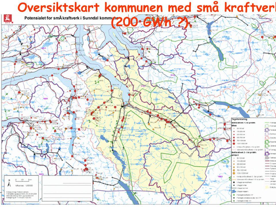 Oversiktskart kommunen med små kraftverk (200 GWh )