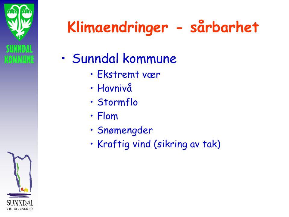 Klimaendringer - sårbarhet Sunndal kommune Ekstremt vær Havnivå Stormflo Flom Snømengder Kraftig vind (sikring av tak)