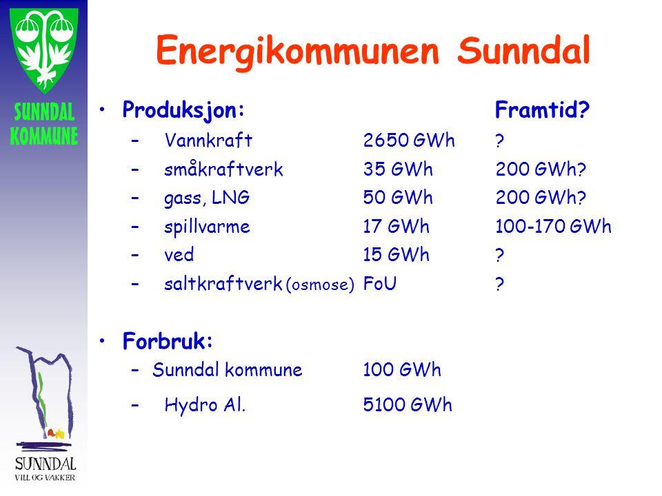 Energikommunen Sunndal Produksjon:Framtid? –Vannkraft2650 GWh? –småkraftverk35 GWh200 GWh? –gass, LNG50 GWh200 GWh? –spillvarme17 GWh100-170 GWh –ved1