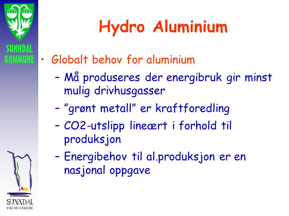 Globalt behov for aluminium –Må produseres der energibruk gir minst mulig drivhusgasser – grønt metall er kraftforedling –CO2-utslipp lineært i forhold til produksjon –Energibehov til al.produksjon er en nasjonal oppgave