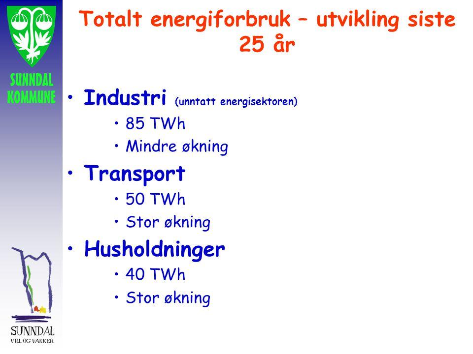 Totalt energiforbruk – utvikling siste 25 år Industri (unntatt energisektoren) 85 TWh Mindre økning Transport 50 TWh Stor økning Husholdninger 40 TWh Stor økning