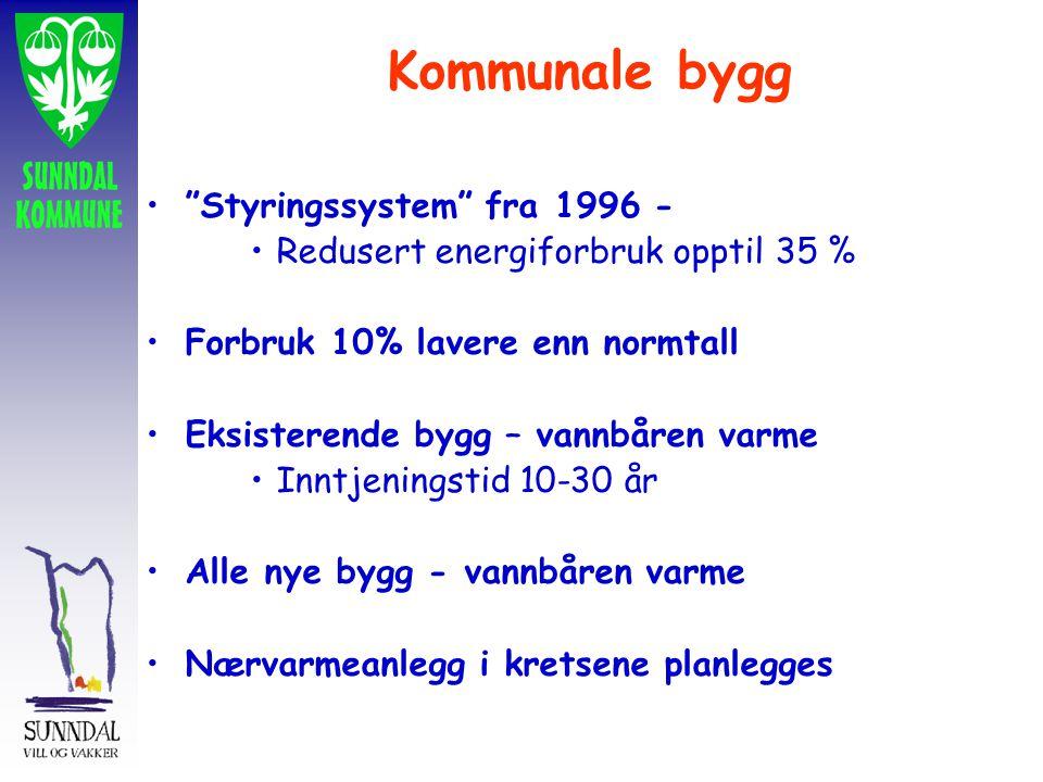 Kommunale bygg Styringssystem fra 1996 - Redusert energiforbruk opptil 35 % Forbruk 10% lavere enn normtall Eksisterende bygg – vannbåren varme Inntjeningstid 10-30 år Alle nye bygg - vannbåren varme Nærvarmeanlegg i kretsene planlegges