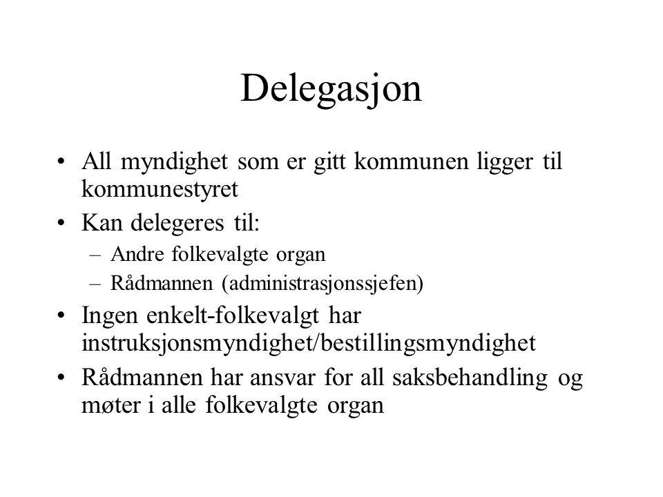 Delegasjon All myndighet som er gitt kommunen ligger til kommunestyret Kan delegeres til: –Andre folkevalgte organ –Rådmannen (administrasjonssjefen)