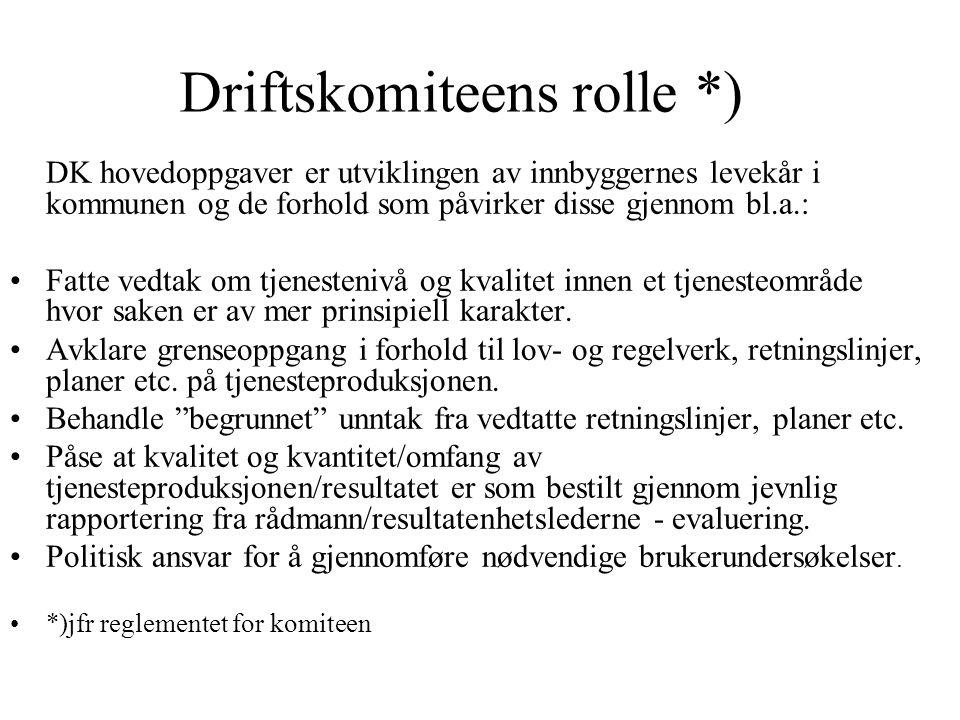 Driftskomiteens rolle *) DK hovedoppgaver er utviklingen av innbyggernes levekår i kommunen og de forhold som påvirker disse gjennom bl.a.: Fatte vedt