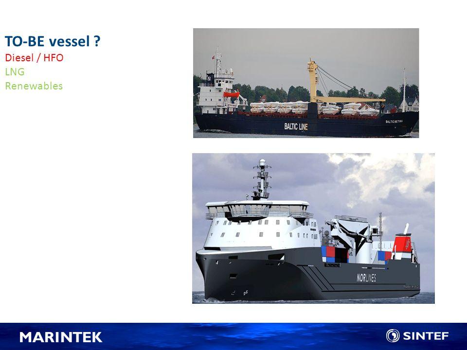 TO-BE vessel ? Diesel / HFO LNG Renewables