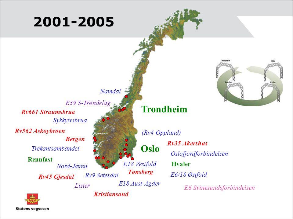 Trondheim Oslo Hvaler Rennfast E18 Vestfold Oslofjordforbindelsen Trekantsambandet Nord-Jæren Sykkylvsbrua E6/18 Østfold E18 Aust-Agder (Rv4 Oppland)