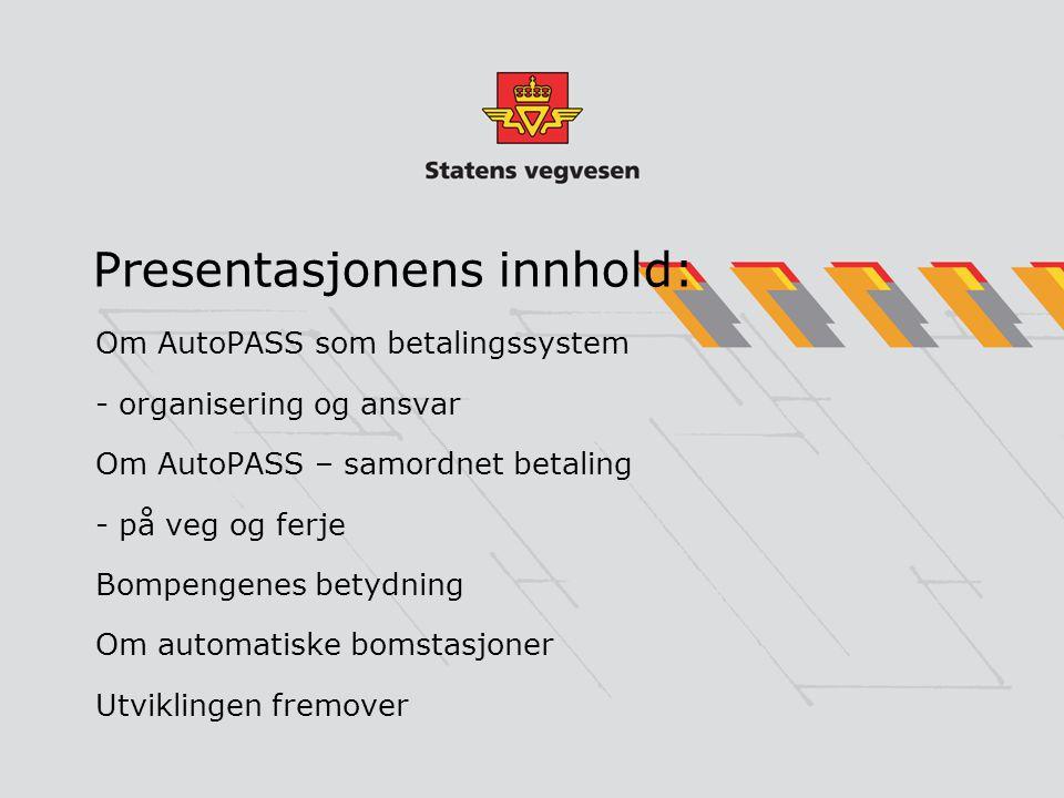 Presentasjonens innhold: Om AutoPASS som betalingssystem - organisering og ansvar Om AutoPASS – samordnet betaling - på veg og ferje Bompengenes betyd