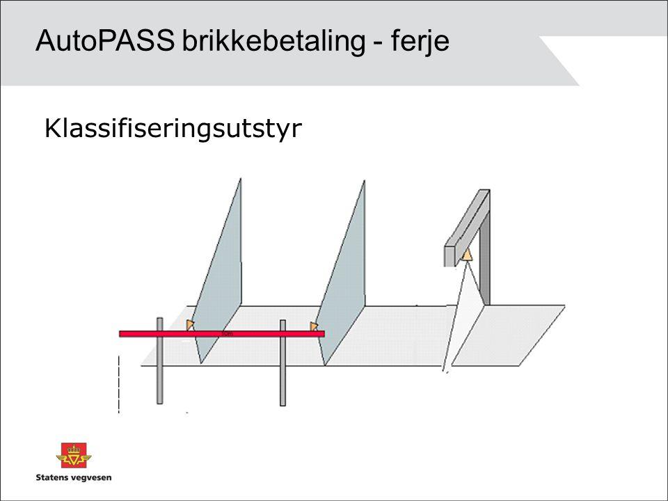 Klassifiseringsutstyr AutoPASS brikkebetaling - ferje