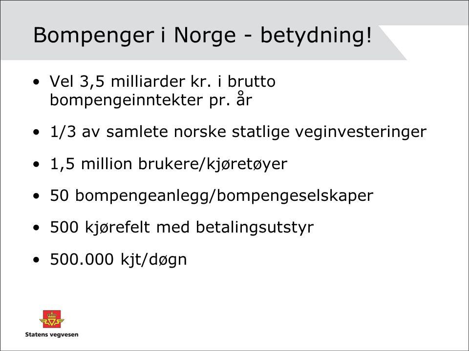 Bompenger i Norge - betydning! Vel 3,5 milliarder kr. i brutto bompengeinntekter pr. år 1/3 av samlete norske statlige veginvesteringer 1,5 million br