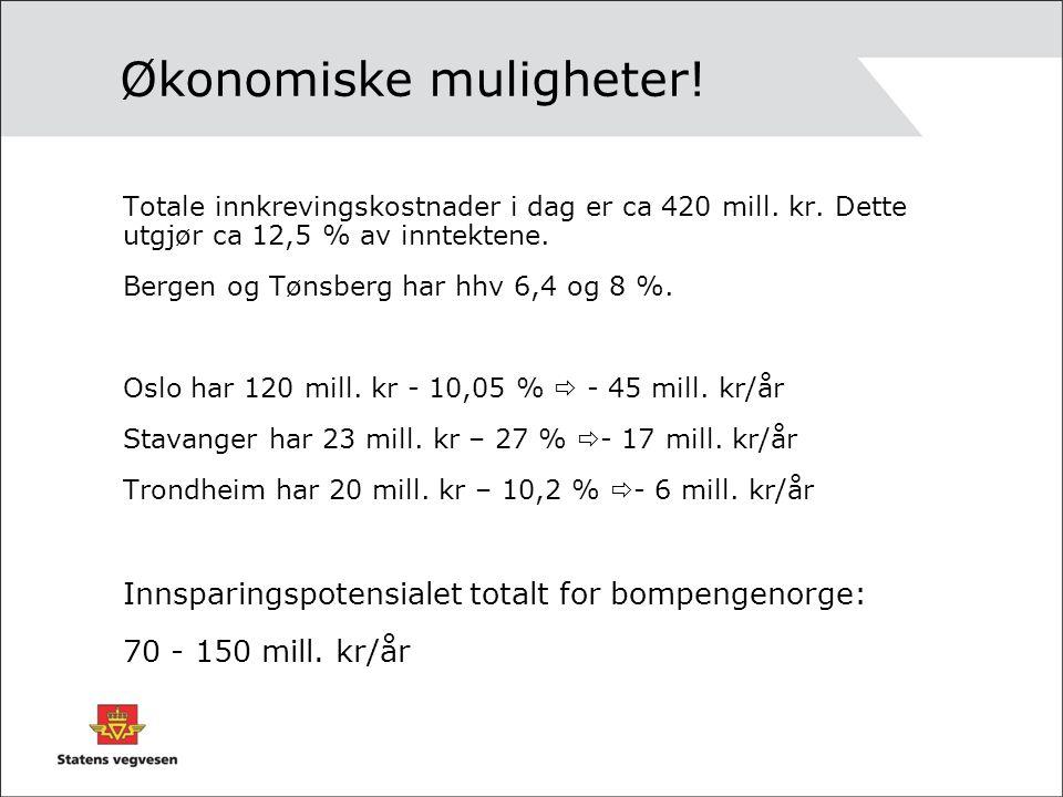 Økonomiske muligheter! Totale innkrevingskostnader i dag er ca 420 mill. kr. Dette utgjør ca 12,5 % av inntektene. Bergen og Tønsberg har hhv 6,4 og 8