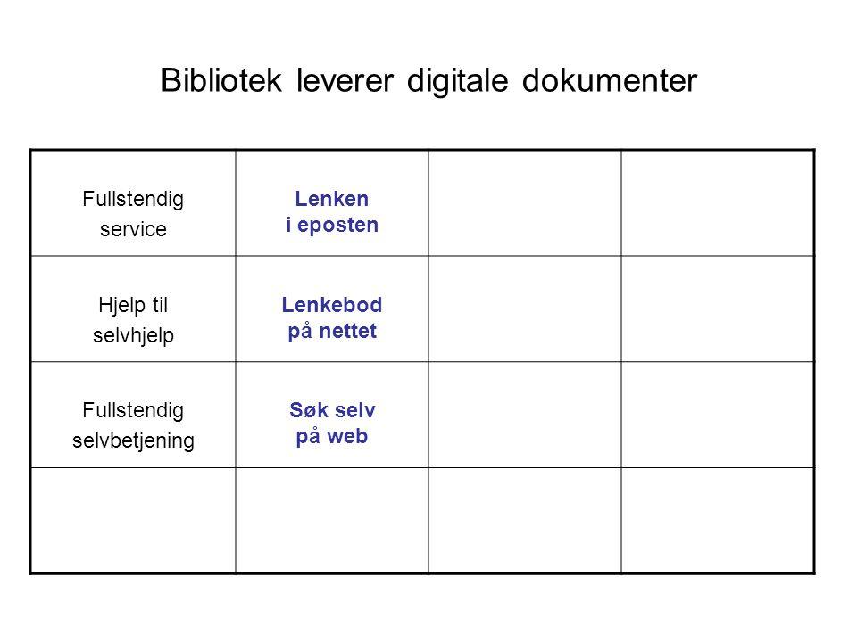 Bibliotek leverer digitale dokumenter Fullstendig service Lenken i eposten Hjelp til selvhjelp Lenkebod på nettet Fullstendig selvbetjening Søk selv p