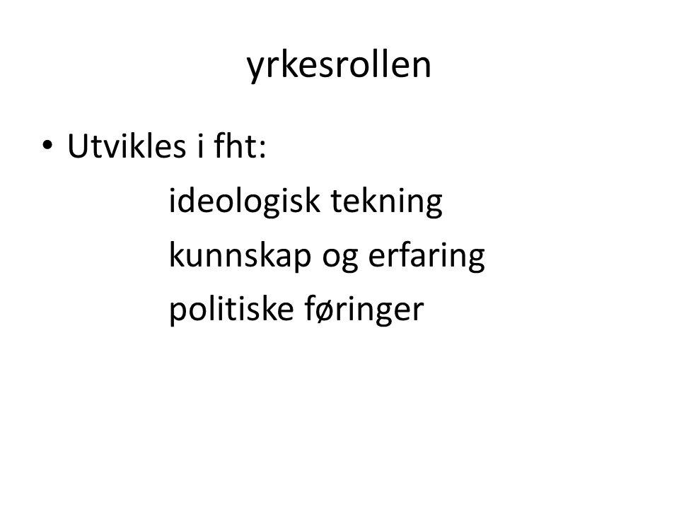 yrkesrollen Utvikles i fht: ideologisk tekning kunnskap og erfaring politiske føringer