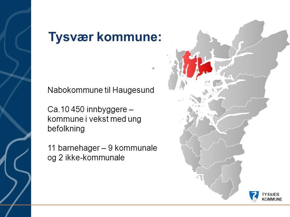 TYSVÆR KOMMUNE Nabokommune til Haugesund Ca.10 450 innbyggere – kommune i vekst med ung befolkning 11 barnehager – 9 kommunale og 2 ikke-kommunale Tysvær kommune: