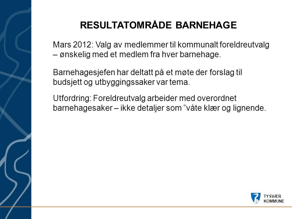 TYSVÆR KOMMUNE RESULTATOMRÅDE BARNEHAGE Mars 2012: Valg av medlemmer til kommunalt foreldreutvalg – ønskelig med et medlem fra hver barnehage.