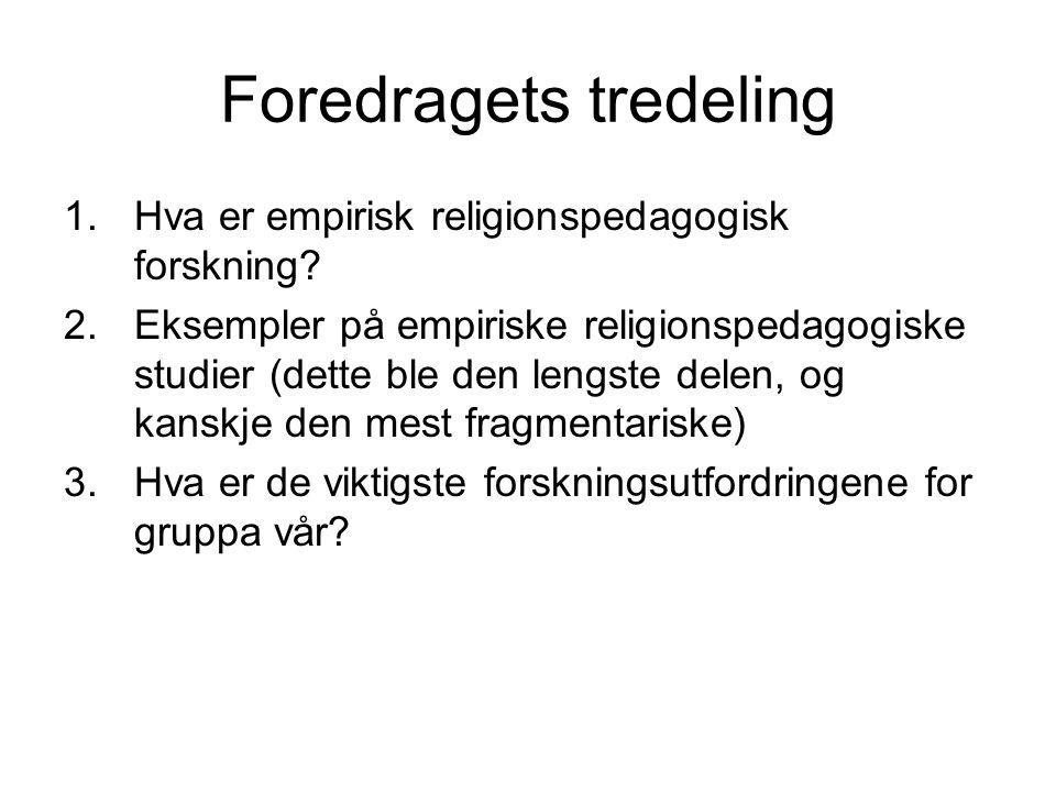 1.Hva er empirisk religionspedagogisk forskning.