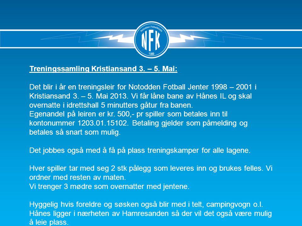 Treningssamling Kristiansand 3. – 5.