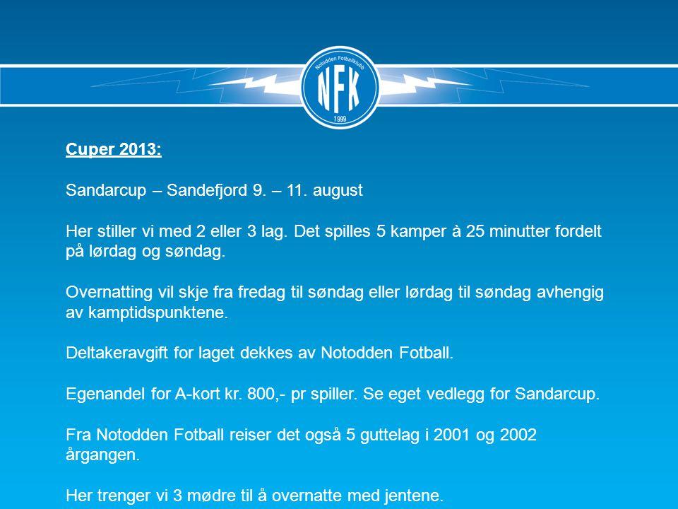 Cuper 2013: Sandarcup – Sandefjord 9. – 11. august Her stiller vi med 2 eller 3 lag.