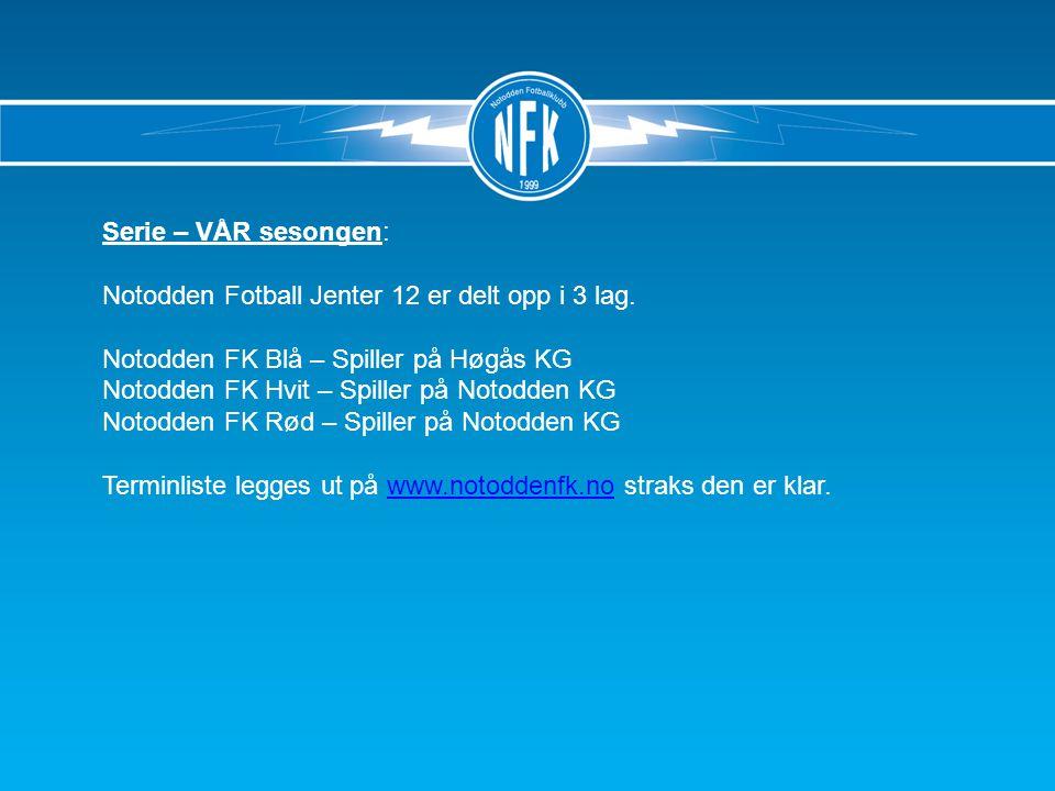Serie – VÅR sesongen: Notodden Fotball Jenter 12 er delt opp i 3 lag.